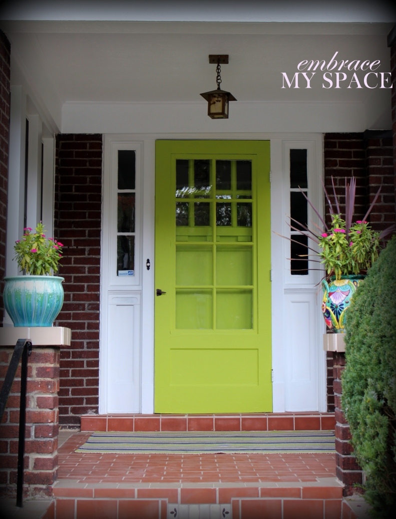 Green front door colors Behr Japanese Fern
